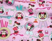 ON SALE Disney Cartoon  Minnie Couture   Print Japanese fabric 50 cm by 53  cm or 19.6 inch by 21 inch