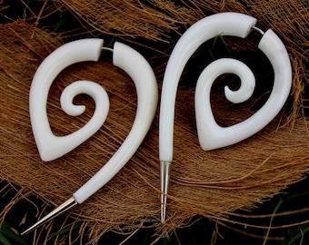 Fake gauge earrings,Natural ,Bone ,Split ,Gauge Earrings ,hand made,tribal style,organic,naturally