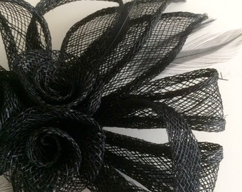 SINAMAY FASCINATOR and PIN,  Black with stripped feathers / 1011
