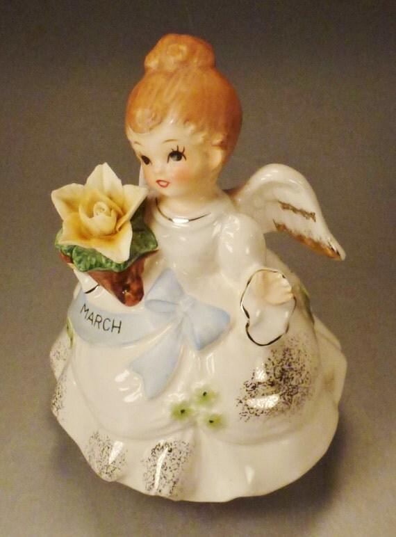 Rare Price Japan March Angel Figurine Music Box Happy Birthday