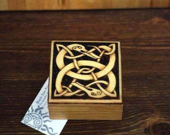 Celtic Serpents Woodburned Box