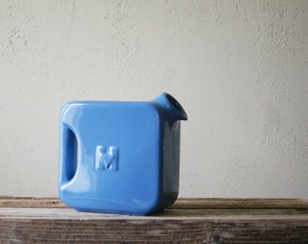Vintage Hall Water Pitcher | Blue Glaze | Hotpoint Refrigerator Accessory | Art Deco Kitchen | Serving Piece | Advertising Collectible