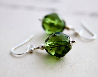 Glass Earrings, Peridot Green, Drop Earrings, Czech Glass, Glass Jewelry, Green Glass, Dangle Earrings, Sterling Silver, PoleStar