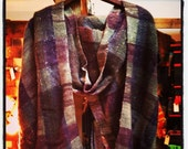ON SALE Handwoven shawl / handspun fiber woven into a beautiful warm shawl / made in Brooklyn,NY