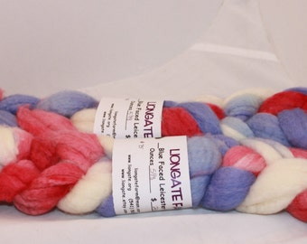 Roving, Wool, BFL Roving, Blue Faced Leicester Hand Painted Roving #610