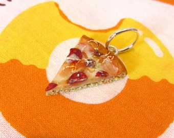 Pepperoni Pizza Slice Pendant - Meat Lover's Realistic Fake Food Pizza Clay Charm