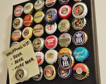 Wall Art Magnet Board - German Beer Bottle Caps - Bottlecap Art - Schickie Mickie Original Upcycled Art