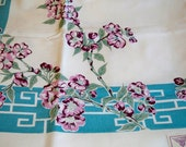 Vintage Victory KB Hand Prints Blossom Tablecloth 52 x 52 Mint with Tags