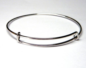10 Silver Adjustable Bangle Charm Bracelet Blank - Popular Style Boho