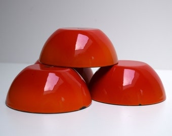 Small Enamel on Metal Bowls, Made in Japan, Orange Red Flame, Chippy