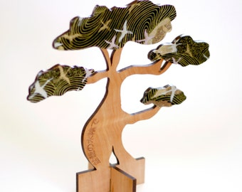 Bonsai Tree - Laser Cut Tasmanian Myrtle Wood Timber and Japanese Chiyogami Yuzen Paper  Sculpture Art Home Decor - WITHOUT POT