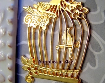 BIG Sale 5pcs  Gold whimsical Bird cage Pendant-floral bird pendant-Gold Sparrow dove Swallow charm Flying Bird-love bird-large pendant