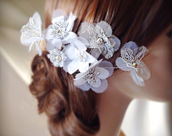 Bridal  hair accessories, organza lace and pearls comb wedding comb, wedding headpiece, bridal hair comb, wedding hair accessories