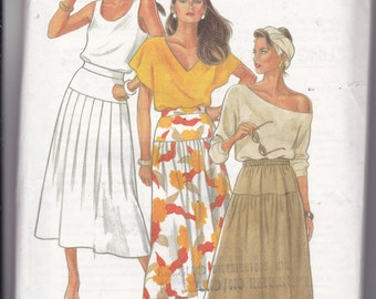 OOP New 2000's New Look pattern 5875 3-style skirts in six sizes 8-18.