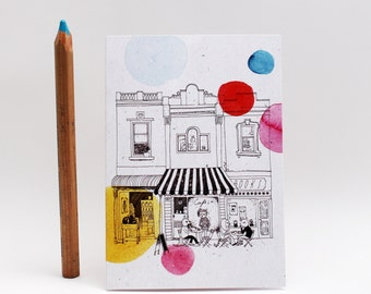 Australian city architecture card, cafe, Melbourne, watercolor greeting card