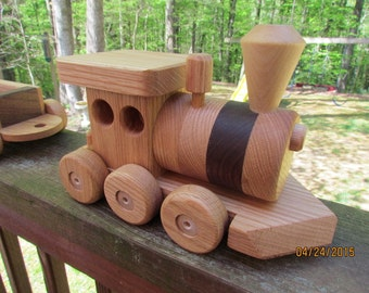 Train set  wooden 3 car Handmade toy Red Oak and  Walnut   Heirloom Quality Beautifully hand finished. Ready to ship! Sale!