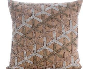"Beige Decorative Pillows Cover,  Square  Japanese Design Sparkly Glitter 16""x16"" Cotton Linen Pillowcase - Tiffany Gold"