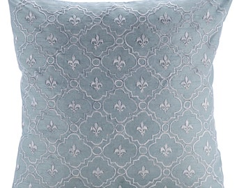"""Light Blue Pillow Covers, 16""""x16"""" Silk Pillow Covers, Square  Lattice Trellis Emboridered French Theme Pillows Cover - French Nautical"""
