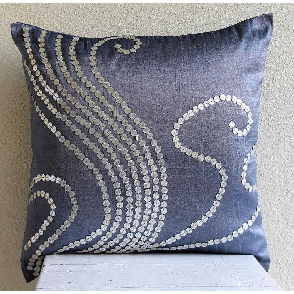 Handmade Blue Pillow Cases 16x16 Silk Pillows