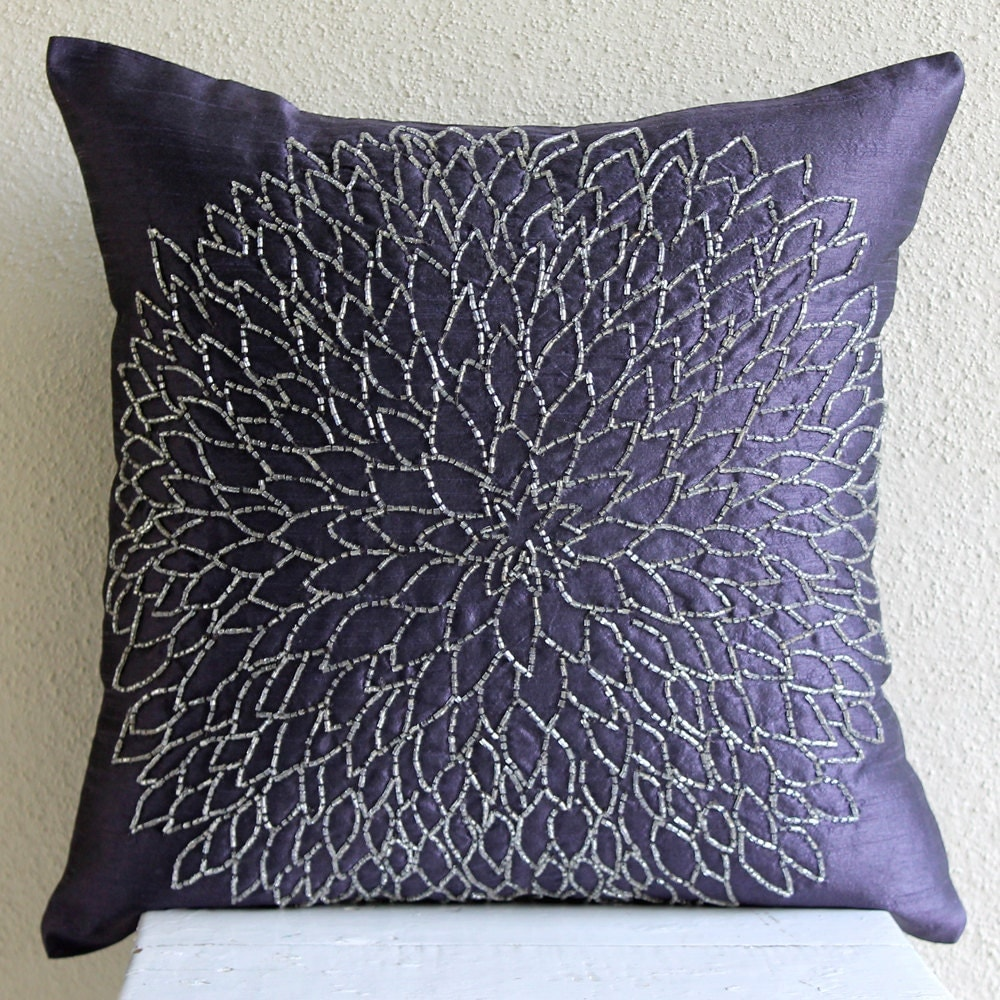 Throw Pillow Covers 20x20 : Throw Pillow Covers 20x20 Silk Bead Blue Embroidered Pillow