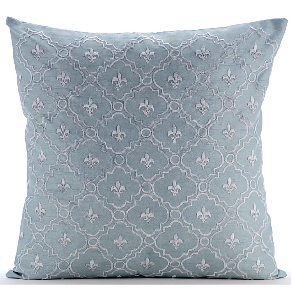 Light Blue Throw Pillow Covers : Light Blue Pillow Covers 16x16 Silk Pillow