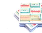 Tile Coasters - Pastel Cassettes - Set of 4 Coasters