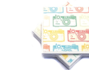 Tile Coasters - Pastel Cameras - Set of 4 Ceramic Tile Coasters