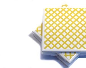 Coasters - Yellow Latice - Set of 4 Ceramic Tile Coasters