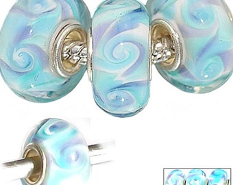 MERZIEs silver murano lampwork glass European charm large hole bead - blue swirls - Combined Shipping