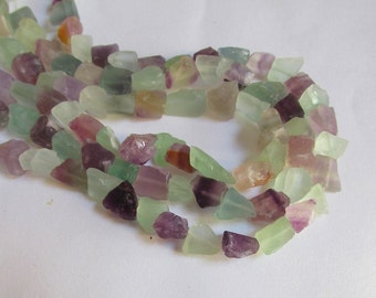 Great Mid Size Natural Rainbow Sea Foam Green Blue Purple Satin Fluorite Nugget Beads
