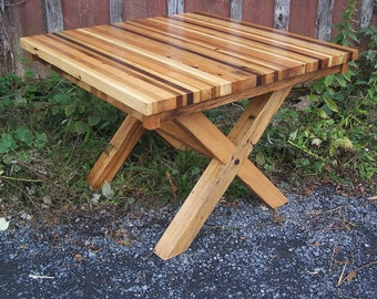 Colorful Reclaimed Wood Butcher Block Dining Table