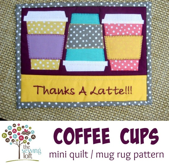 Mini Quilt Block Template Set : Coffee Cup Mini Quilt Mug Rug Pattern Instant Download