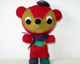 Bear Wool Felt Toy Stuffed Animal Hand Stitched Red Green Violet