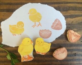 Spring Chicks Hand Carved Rubber Stamp Set