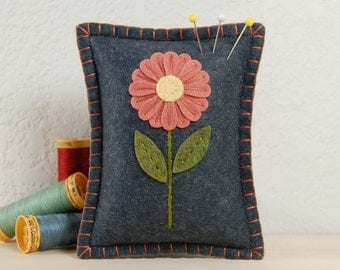 Wool Felt Pincushion • Pink Grapefruit Daisy on Grey • Hand Embroidered • Small Pillow