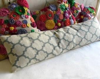 MINERAL  mist blue/cream long bolster pillow 11x40