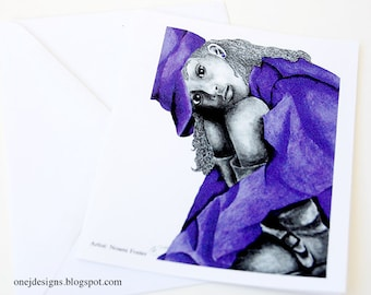 Purple Girl 2 Note Card