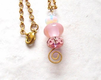 Pink Glass Rondelle Stack on Brass Necklace