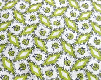 Vintage Cotton Yardage - Small Floral and Geometric Print - Chartreuse and Black