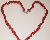 50's Red CORAL Choker Necklace Sterling Clasp-vintage real coral