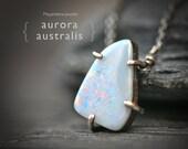 Aurora Australis - Boulder Opal - Sterling Silver Necklace