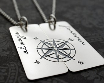 Best Friend Jewelry Set - Personalized Compass Necklaces in Sterling Silver - Compass Rose Pendant Gift Set by Eclectic Wendy Designs
