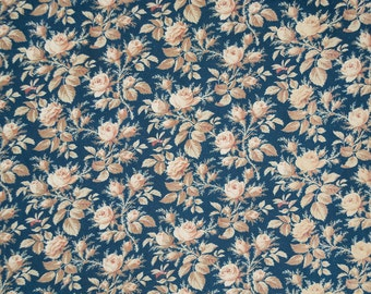 French antique dk blue fabric with rosebuds
