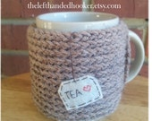 knitted tea mug cozy cup cozy in mushroom taupe
