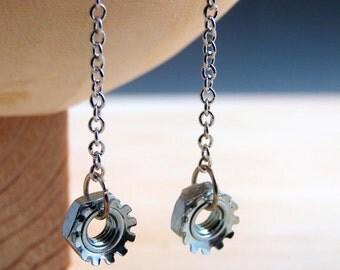 Steampunk Drop Earrings Dangles Hardware Jewelry Long Chain Industrial Hardware Accents