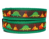 "1"" Tag Dog Collar DINOSAURS with green webbing"