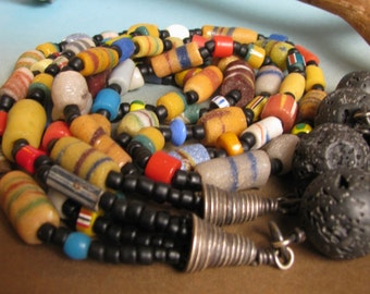 Ethnic Necklace, Multi Strand Bead Necklace, Trade Bead Necklace, Lava Necklace, Long OOAK Colorful Necklace, Caravan Road  Exotic Necklace
