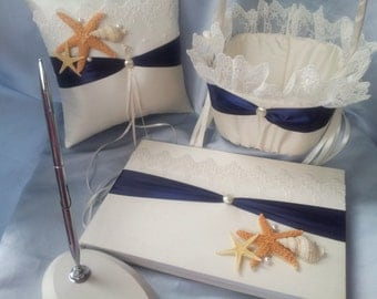 4 pc Elegant Navy Blue Lace Beach Theme Ivory Pearl Wedding Ring Pillow Flower Girl Basket Guest Book Pen Stand Starfish Seashell Sash