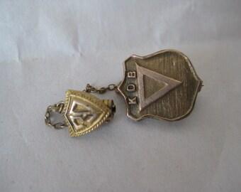 K D B Triangle Pin Brooch Gold Vintage 30 Chain KDB