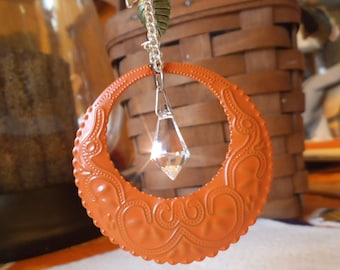 ORANGE HOOP Ornament, Suncatcher, Rearview Mirror jewel, Car Gem, Home Decor